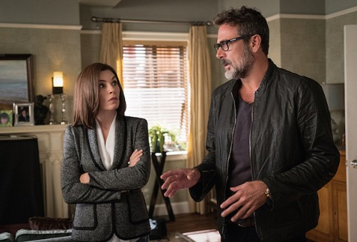 """Payback"" -- Jason employs aggressive investigative tactics when he assists Alicia and Lucca with a student loan case. Also, Howard Lyman alleges ageism at Lockhart, Agos & Lee, pointing to Cary as the primary offender, and Eli stirs up Florrick family drama on Peter's presidential campaign, on THE GOOD WIFE, Sunday, Nov. 1 (9:00-10:00 PM, ET/PT) on the CBS Television Network. Pictured (L-R) Julianna Margulies as Alicia Florrick and Jeffrey Dean Morgan as Jeffrey Dean Morgan Photo: David M. Russell/CBS ©2015 CBS Broadcasting, Inc. All Rights Reserved"