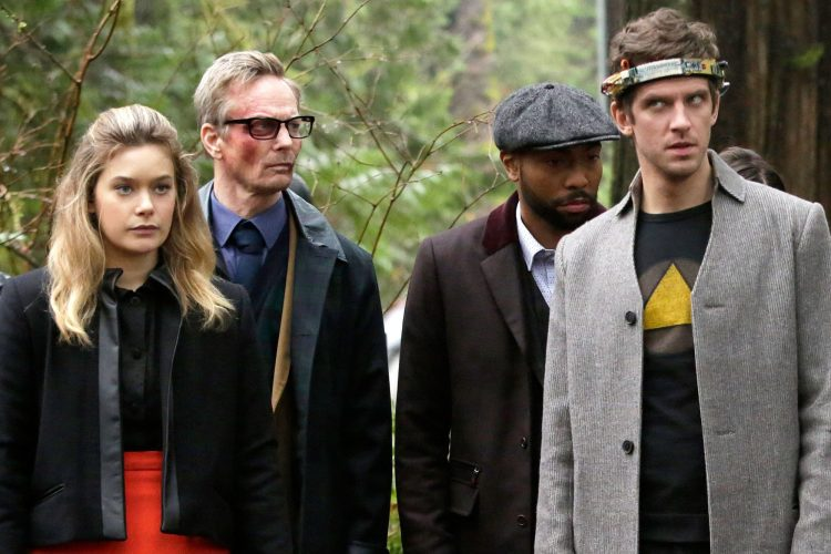 "LEGION -- ""Chapter 8"" – Season 1, Episode 8 (Airs Wednesday, March 29, 10:00 pm/ep) -- Pictured: (l-r) Rachel Keller as Syd Barrett, Bill Irwin as Cary Loudermilk, Jeremie Harris as Ptonomy Wallace, Dan Stevens as David Haller. CR: Michelle Faye/FX"